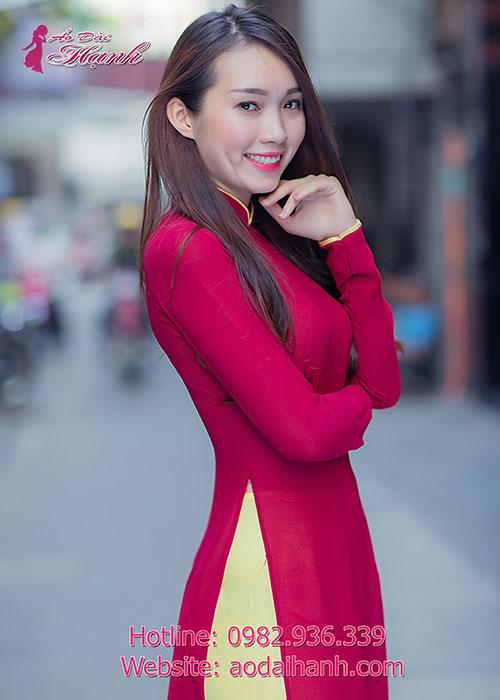 Áo dài lễ tân đỏ đô chiffon tay dài cổ truyền thống