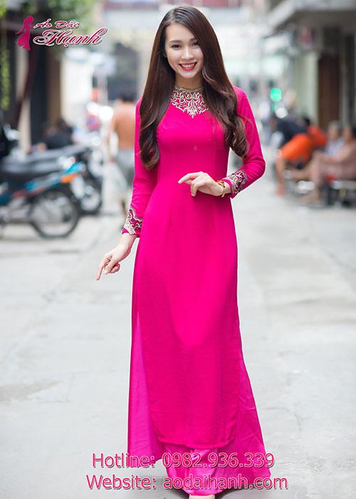 Áo dài đẹp hồng sen quyến rũ