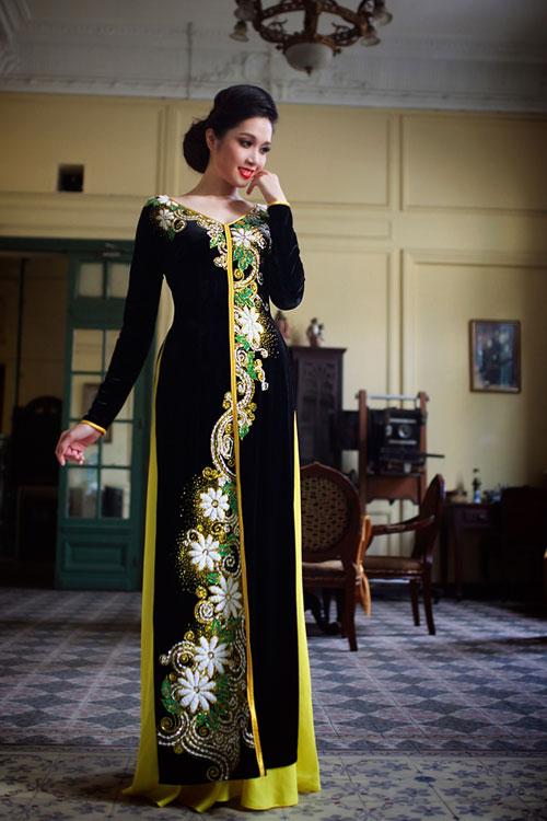 Mẫu áo dài truyền thống được cách điệu từ áo bà ba