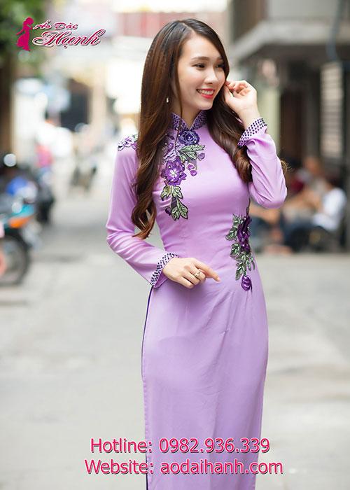 Áo dài cưới in hoa nổi 3D 01