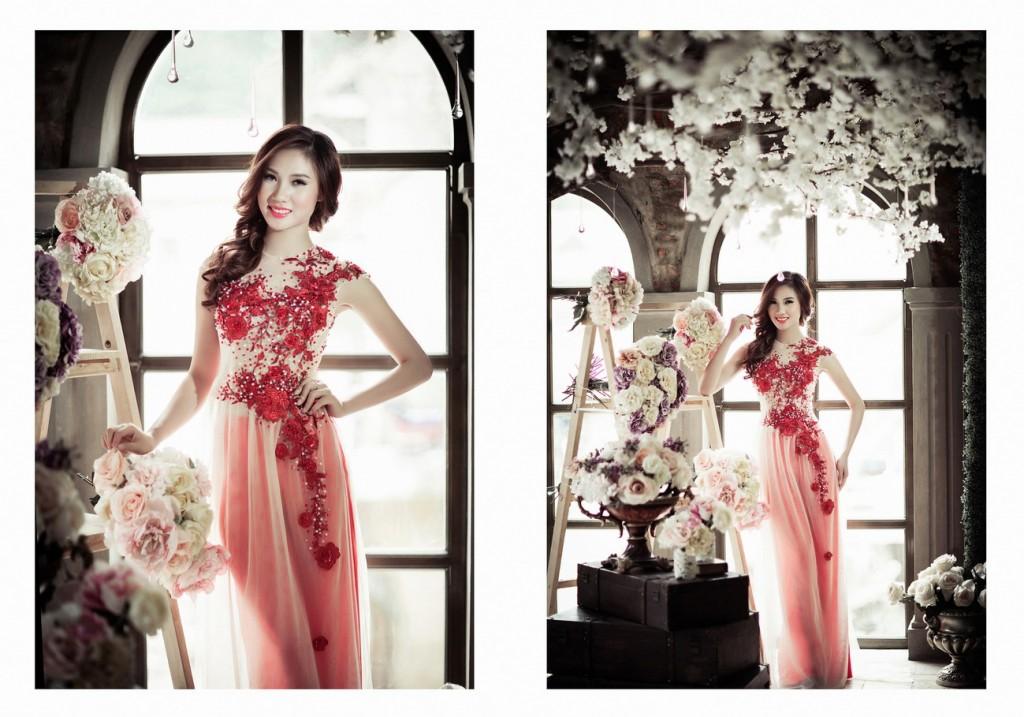 Áo dài cưới in hoa nổi 3D 02
