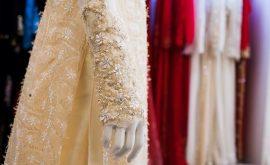 Áo dài cưới in hoa nổi 3D