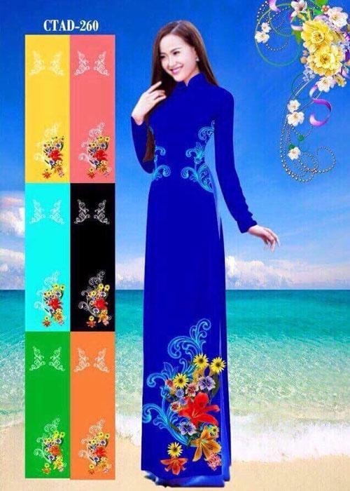 Vải áo dài truyền thống in 3D in 3D mã số CTAD-260