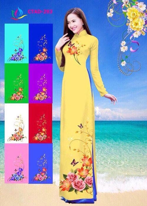 Vải áo dài truyền thống in 3D in 3D mã số CTAD-293