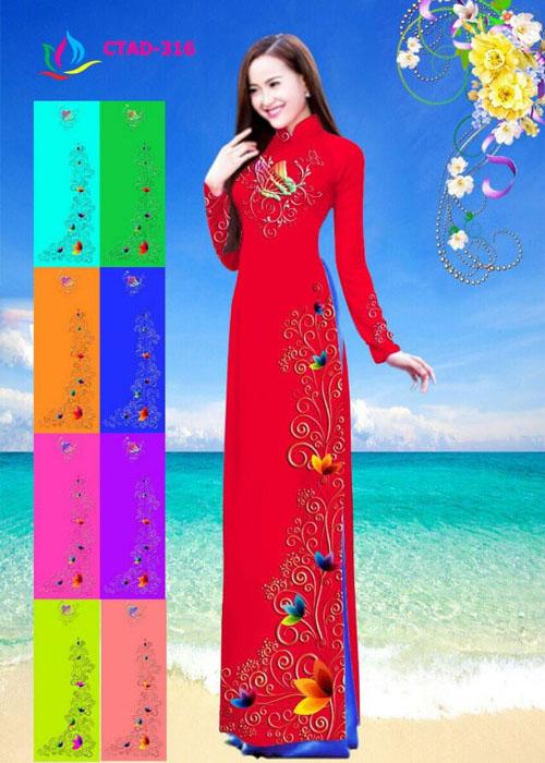 Vải áo dài truyền thống in 3D in 3D mã số CTAD-316