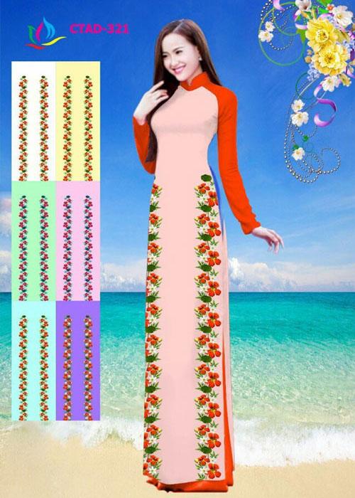 Vải áo dài truyền thống in 3D in 3D mã số CTAD-317