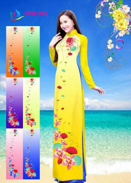 Vải áo dài truyền thống in 3D in 3D mã số CTAD-342
