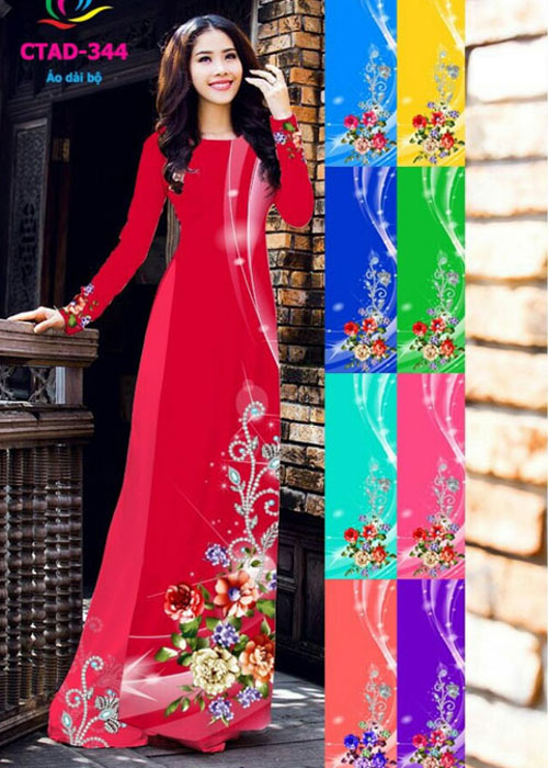 Vải áo dài truyền thống in 3D in 3D mã số CTAD-344
