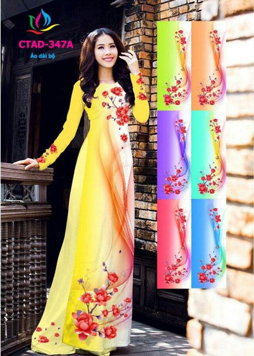 Vải áo dài truyền thống in 3D in 3D mã số CTAD-347A