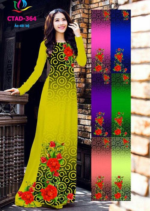 Vải áo dài truyền thống in 3D in 3D mã số CTAD-364