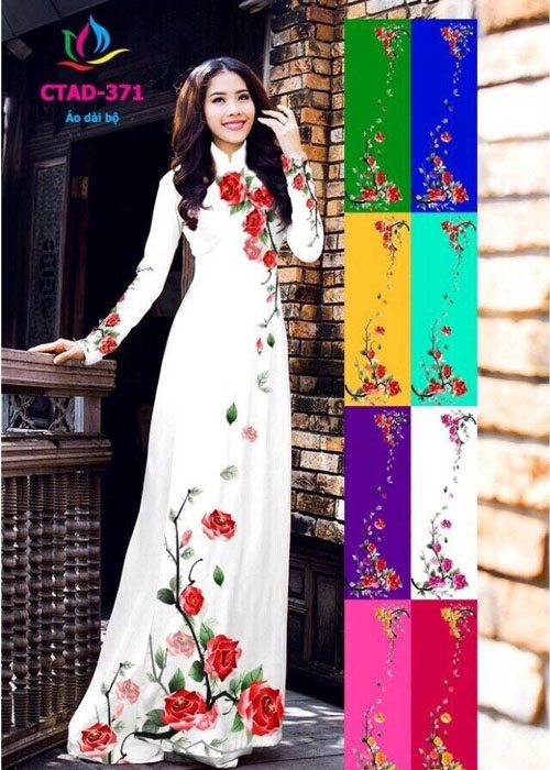 Vải áo dài truyền thống in 3D in 3D mã số CTAD-371