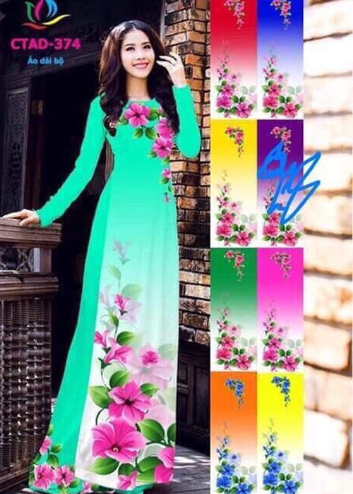 Vải áo dài truyền thống in 3D in 3D mã số CTAD-374