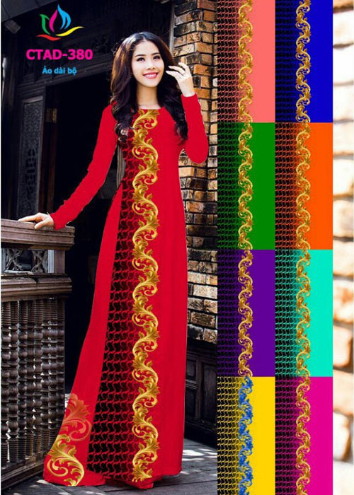 Vải áo dài truyền thống in 3D in 3D mã số CTAD-380