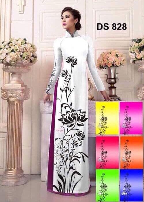 Vải áo dài truyền thống in 3D in 3D mã số DS-828