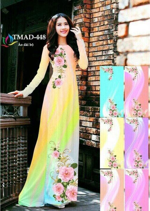 Vải áo dài truyền thống in 3D in 3D mã số TMAD-448