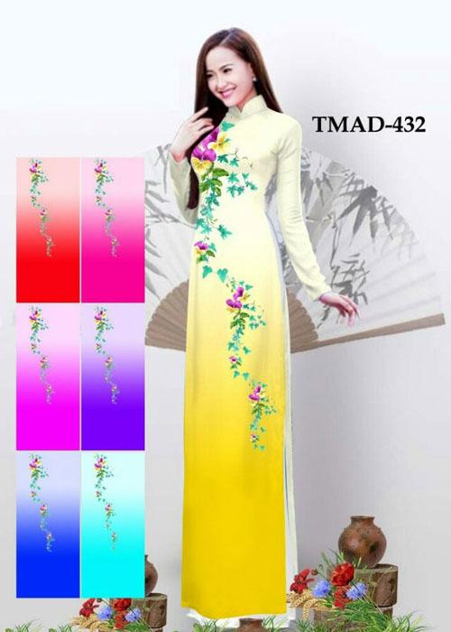 Vải áo dài truyền thống in 3D in 3D mã số TMAD-432