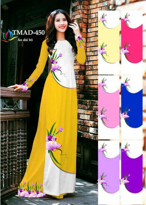 Vải áo dài truyền thống in 3D in 3D mã số TMAD-450