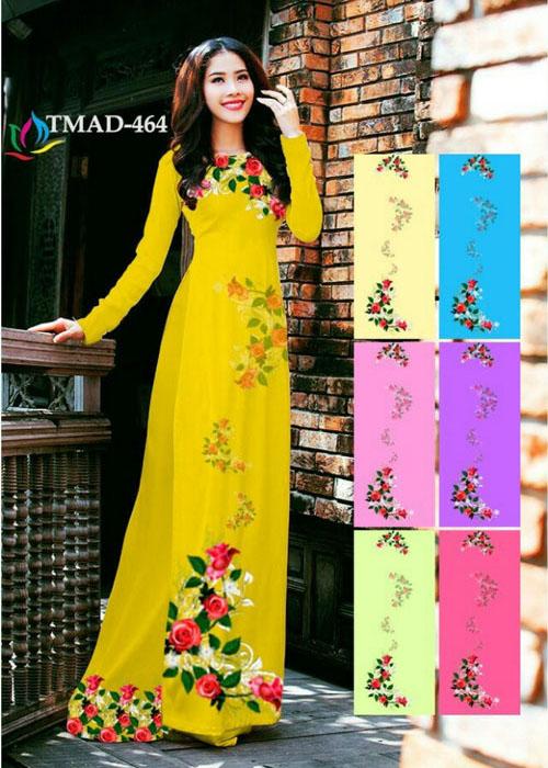 Vải áo dài truyền thống in 3D in 3D mã số TMAD-464