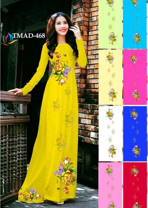 Vải áo dài truyền thống in 3D in 3D mã số TMAD-468