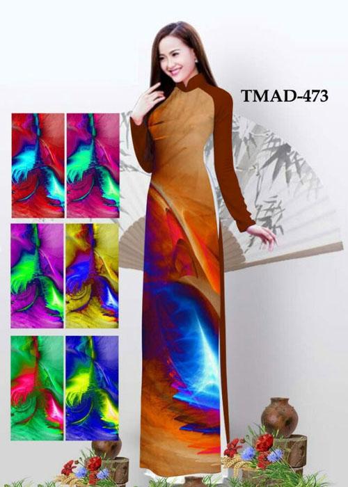 Vải áo dài truyền thống in 3D in 3D mã số TMAD-473