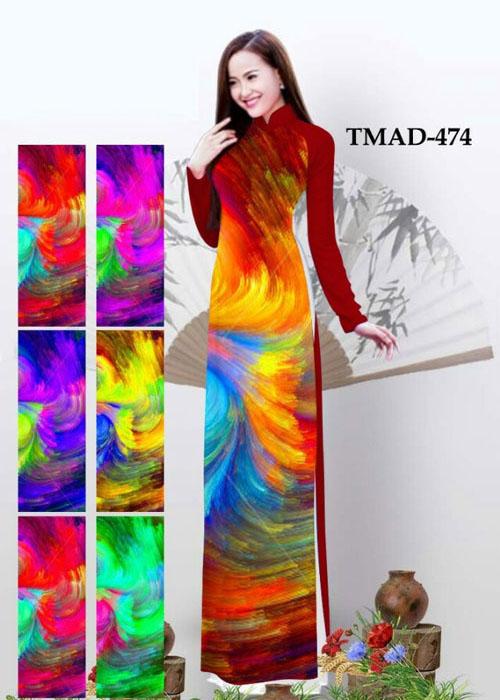 Vải áo dài truyền thống in 3D in 3D mã số TMAD-474