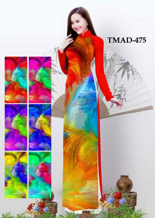 Vải áo dài truyền thống in 3D in 3D mã số TMAD-475