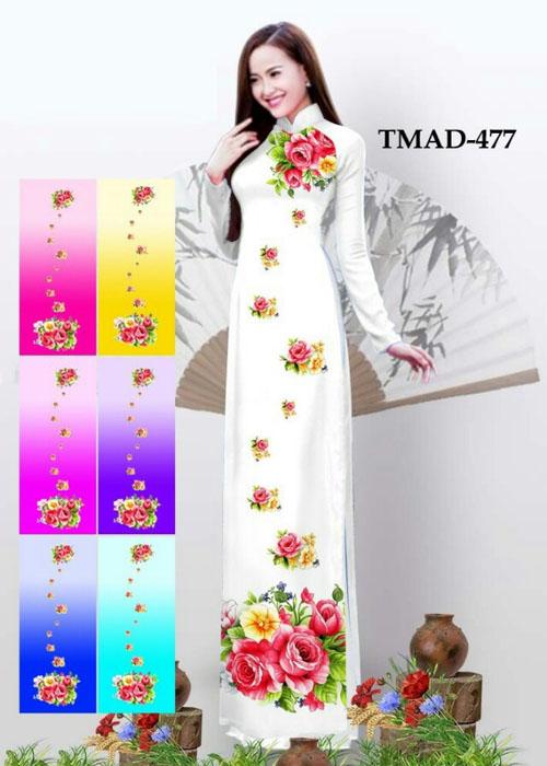 Vải áo dài truyền thống in 3D in 3D mã số TMAD-477