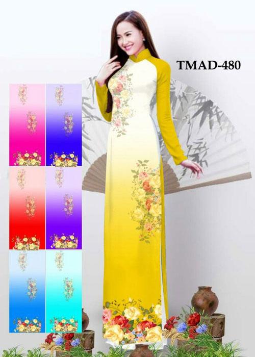 Vải áo dài truyền thống in 3D in 3D mã số TMAD-480
