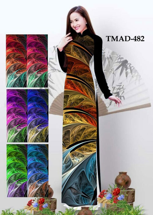Vải áo dài truyền thống in 3D in 3D mã số TMAD-482
