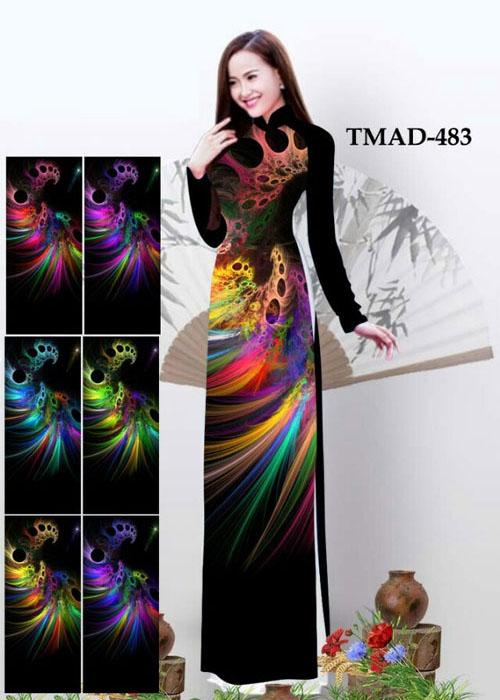 Vải áo dài truyền thống in 3D in 3D mã số TMAD-483