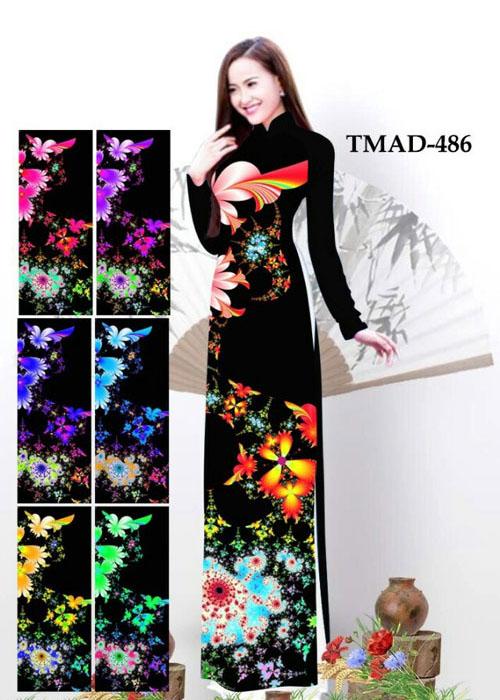Vải áo dài truyền thống in 3D in 3D mã số TMAD-486