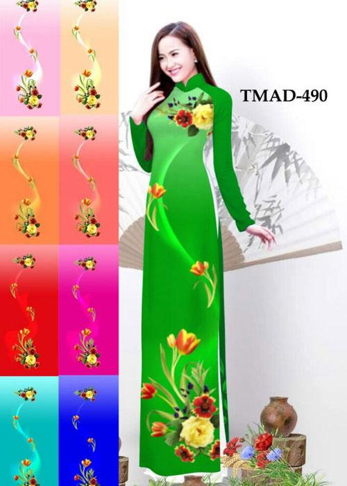 Vải áo dài truyền thống in 3D in 3D mã số TMAD-490