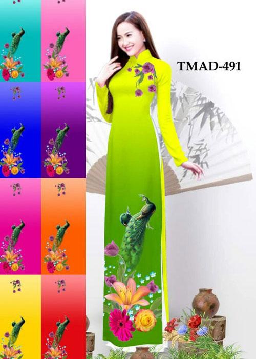 Vải áo dài truyền thống in 3D in 3D mã số TMAD-491