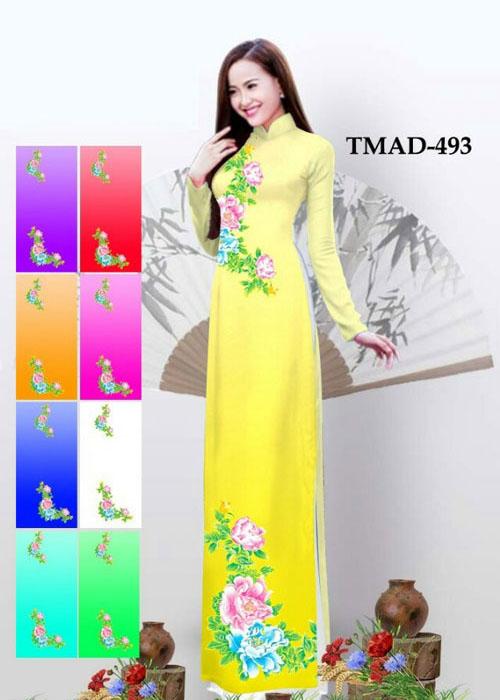 Vải áo dài truyền thống in 3D in 3D mã số TMAD-493