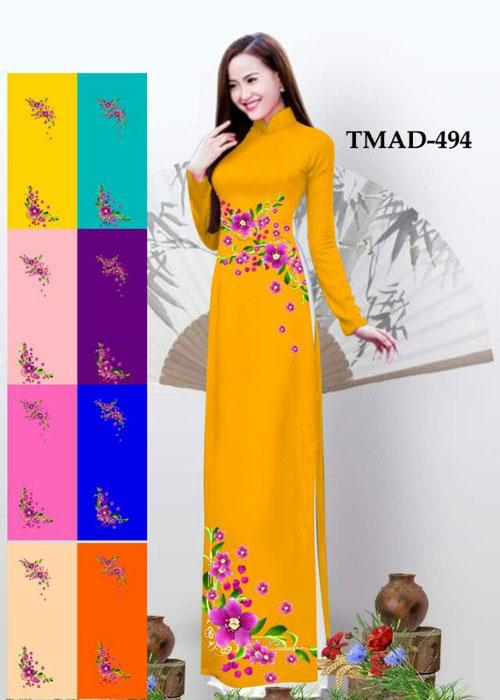 Vải áo dài truyền thống in 3D in 3D mã số TMAD-494