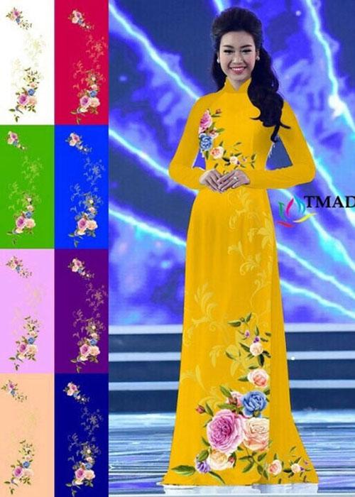 Vải áo dài truyền thống in 3D in 3D mã số TMAD-499