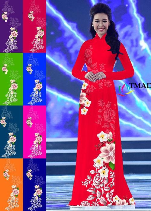 Vải áo dài truyền thống in 3D in 3D mã số TMAD-500