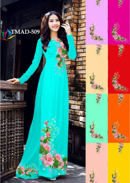 Vải áo dài truyền thống in 3D in 3D mã số TMAD-509