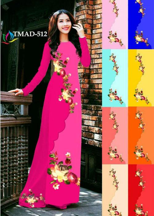 Vải áo dài truyền thống in 3D in 3D mã số TMAD-512