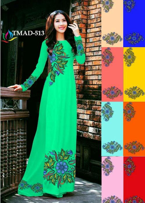 Vải áo dài truyền thống in 3D in 3D mã số TMAD-513