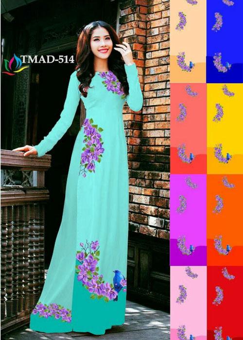 Vải áo dài truyền thống in 3D in 3D mã số TMAD-514