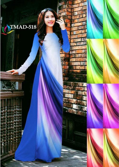 Vải áo dài truyền thống in 3D in 3D mã số TMAD-518