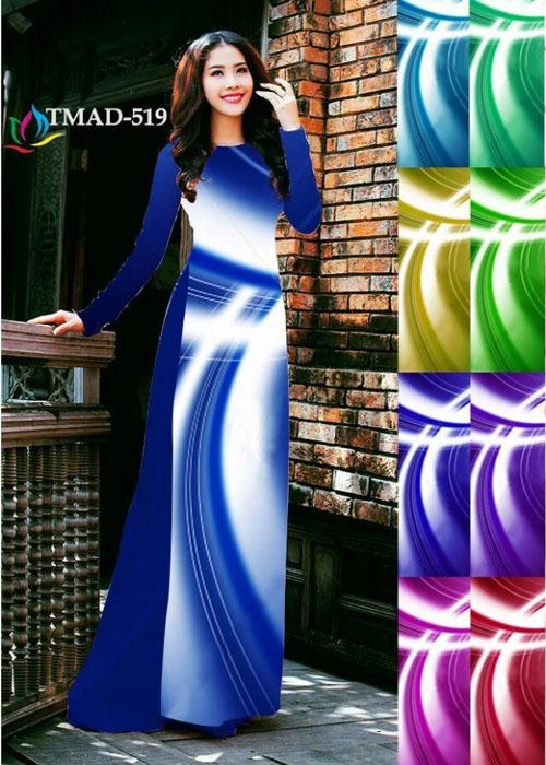 Vải áo dài truyền thống in 3D in 3D mã số TMAD-519