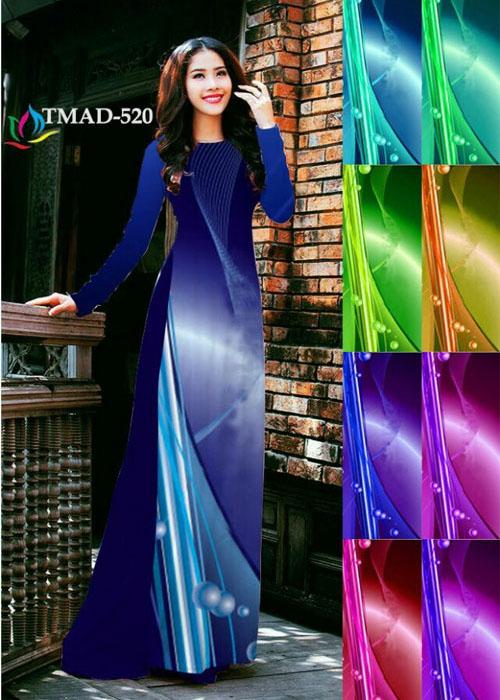 Vải áo dài truyền thống in 3D in 3D mã số TMAD-520