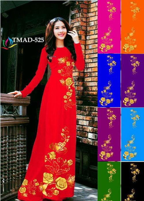 Vải áo dài truyền thống in 3D in 3D mã số TMAD-525