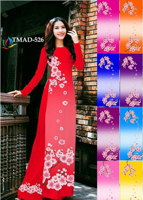 Vải áo dài truyền thống in 3D in 3D mã số TMAD-526