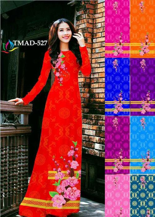 Vải áo dài truyền thống in 3D in 3D mã số TMAD-527