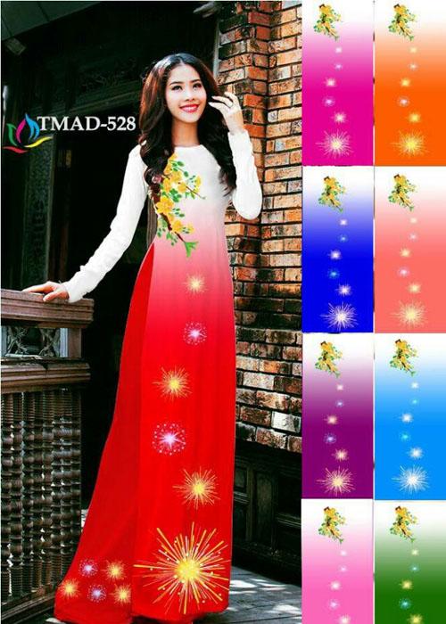 Vải áo dài truyền thống in 3D in 3D mã số TMAD-528