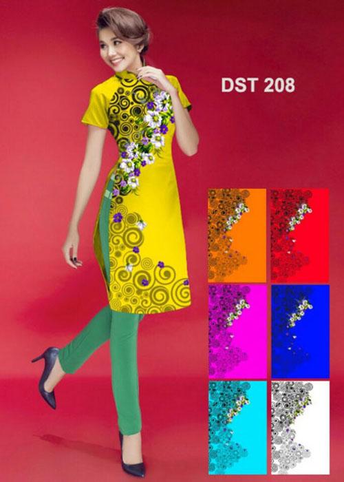 Vải áo dài cách tân in 3D in 3D mã số DST-208