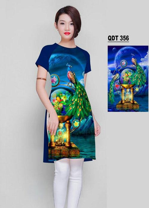 Vải áo dài cách tân in 3D in 3D mã số QDT-356